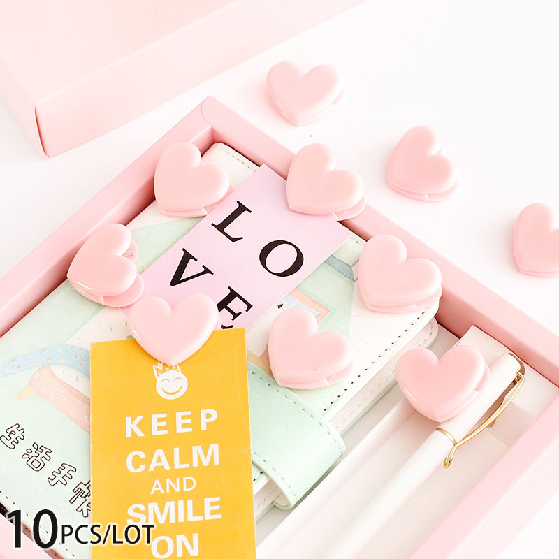 10pcs/lot Pink Love Heart Clip , Mini Pink Spring Clips For Wedding / Photo Clip