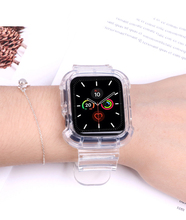 Case+Strap For Apple Watch Band 44mm 40mm 42mm 38mm Accessories Soft Silicone Transparent Bracelet iWatch series 5 4 3 6 SE cheap apband CN(Origin) 22cm Watchbands New with tags 44 42 40 38 mm for applewatch aple aplle applle i watch 3 2 1 smartwatch wristband wrist belt Accessories