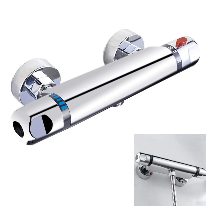 Chrome Thermostatic Bar Shower Mixer Valve Anti Scald Tap