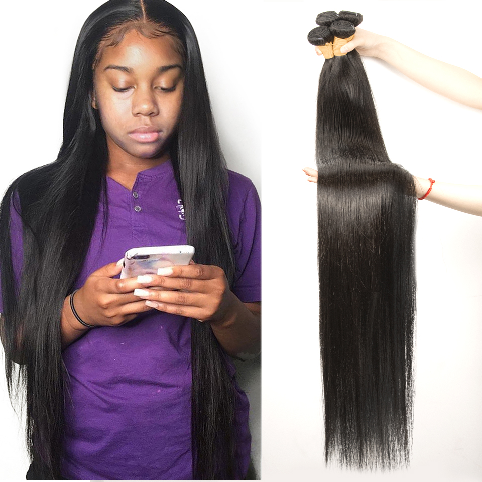 Fashow 30 32 34 36 40 Inch Indian Hair Straight Hair Bundles 100% Natural Human Hair 1 3 4 Bundles Double Wefts Thick Remy Hair