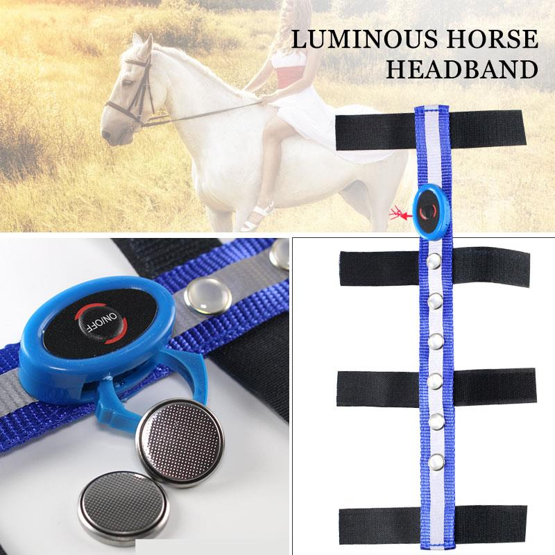 Horse Head Straps Horse Reins LED Tournament Outdoor Polyester Blue Horseman Sports Durable Equestrian Reins Portable Practical