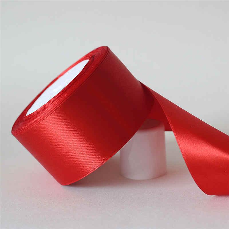 25 yardas/6mm-50mm Satén de seda rojo cinta de material para manualidades para fiesta de graduación decoración boda caja de regalo accesorios de embalaje D7