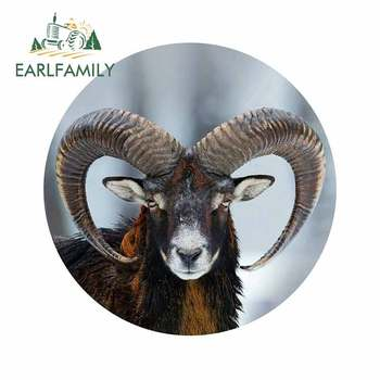 EARLFAMILY 13cm x 13cm for Mouflon Ovis Orientalis Horned Goat Cool Gift DIY Motorcycle Car Stickers Personality Decals image