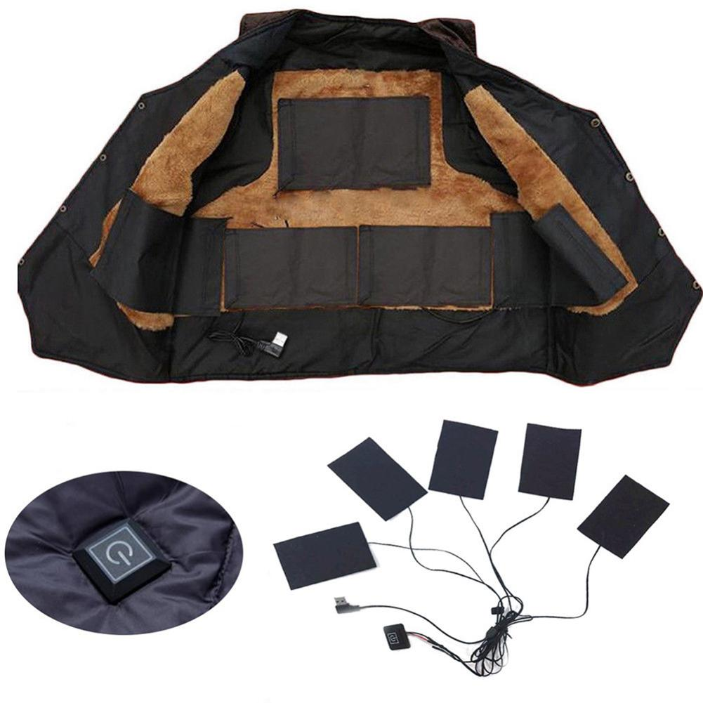 8W USB Charged Electric Clothes Heater Sheet Adjustable Winter Carbon Fiber Heating Pad Warmer Tool For Vest Jacket Adjustable