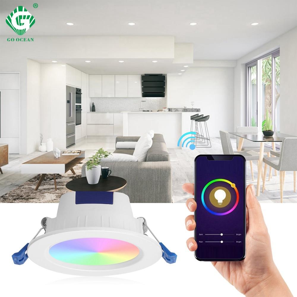 Encastré LED Downlight couleur réglable Google Home IFTTT App contrôle intelligent plafond vers le bas lumières Foyer salon nuit éclairage