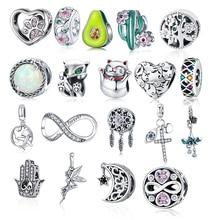 BISAER Лидер продаж 925 пробы серебро сердце принцессы со звездным принтом на лицевой стороне присутствует украшение (Корона/бант) Ловец снов, О...