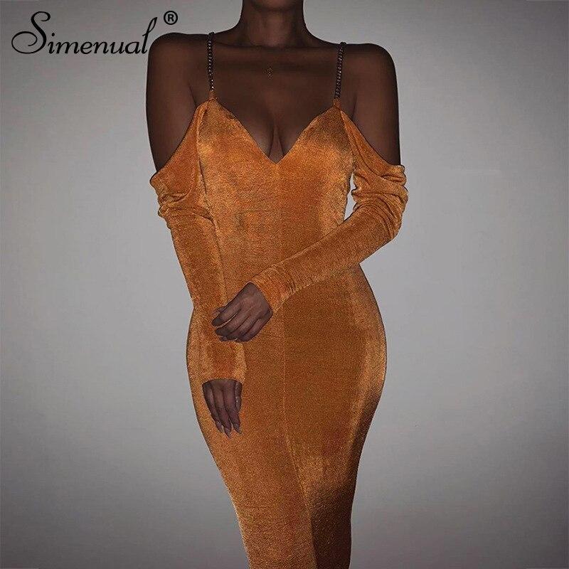 Simenual Sexy Fashion V Neck Women Bodycon Dress Open Shoulder Long Sleeve Party Long Dresses Autumn Solid Skinny Slim Clubwear