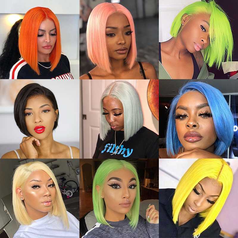 H3a66ef42adb844bf9688c08acbd1053bV 13x6 Blue Bob Lace Front Human Hair Wigs Pre Plucked 613 Honey Blonde Purple Green Burgundy Yellow Ombre Colored Human Hair Wigs