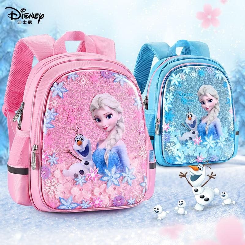 Disney Frozen Anna Elsa Children Schoolbag  Girls Kids Backpack Large Capacity Waterproof Reflective Strip  Birthday Gift