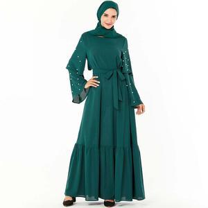 Abaya Dubai Embroidered Print American Clothing Caftan Dress Hijab Pearls Muslim Fashion abayas for women