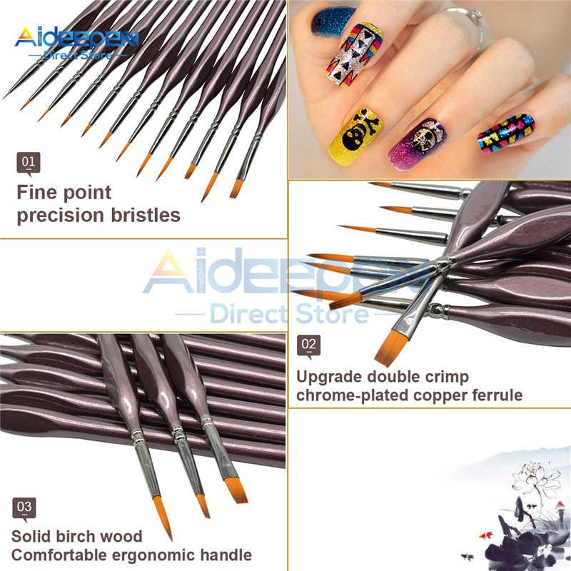12 Pz/set Acquerello Gouache Pennelli Acrilico/Pennelli A Olio Per Viso Draw Nail Draw Penna Gancio Linea Con sacchetto di polvere