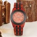 Деревянные кварцевые часы из сандалового дерева  красный  коричневый деревянный ремешок для часов  красный  черный циферблат  римские цифры...