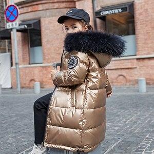 Image 3 - 2020 אופנה מותג ילדה למטה מעיל חם תינוק ילדים למטה מעיילי מעיל פרווה ילד נער עיבוי הלבשה עליונה לחורף קר
