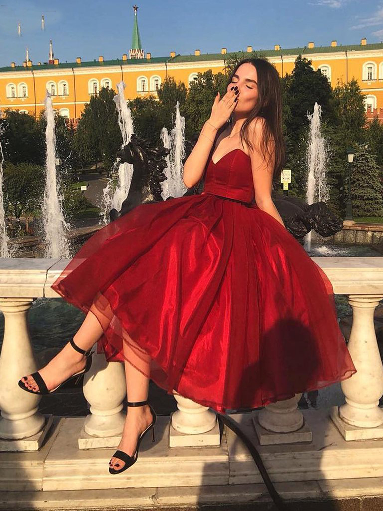 New Design Sweetheart Organza Burgundy Prom Dress 2019 Tea Length Ball Gown Graduation Homecoming Dresses