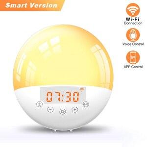 WIFI sunrise lampka budzenia inteligentny alarm z funkcją drzemki zegar sypialnia LED lampka nocna radio FM