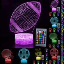 Remote/Touch Control 3D LED Night Light Fashion Rugby/Football Pattern 7/16 Color Change LED Table Desk Lamp Kids Xmas Gift D30