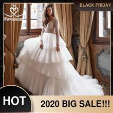 Swanskirt סקסי V צוואר חרוזים חתונת שמלת 2020 ארוך שרוול Ruched טול כדור שמלת אשליה נסיכת הכלה Vestido דה novia I150