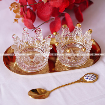10pcs/lot crown candlestick crystal Ashtray High Borosilicate glass Practical Tea Light stand gift wedding  Candle Holder