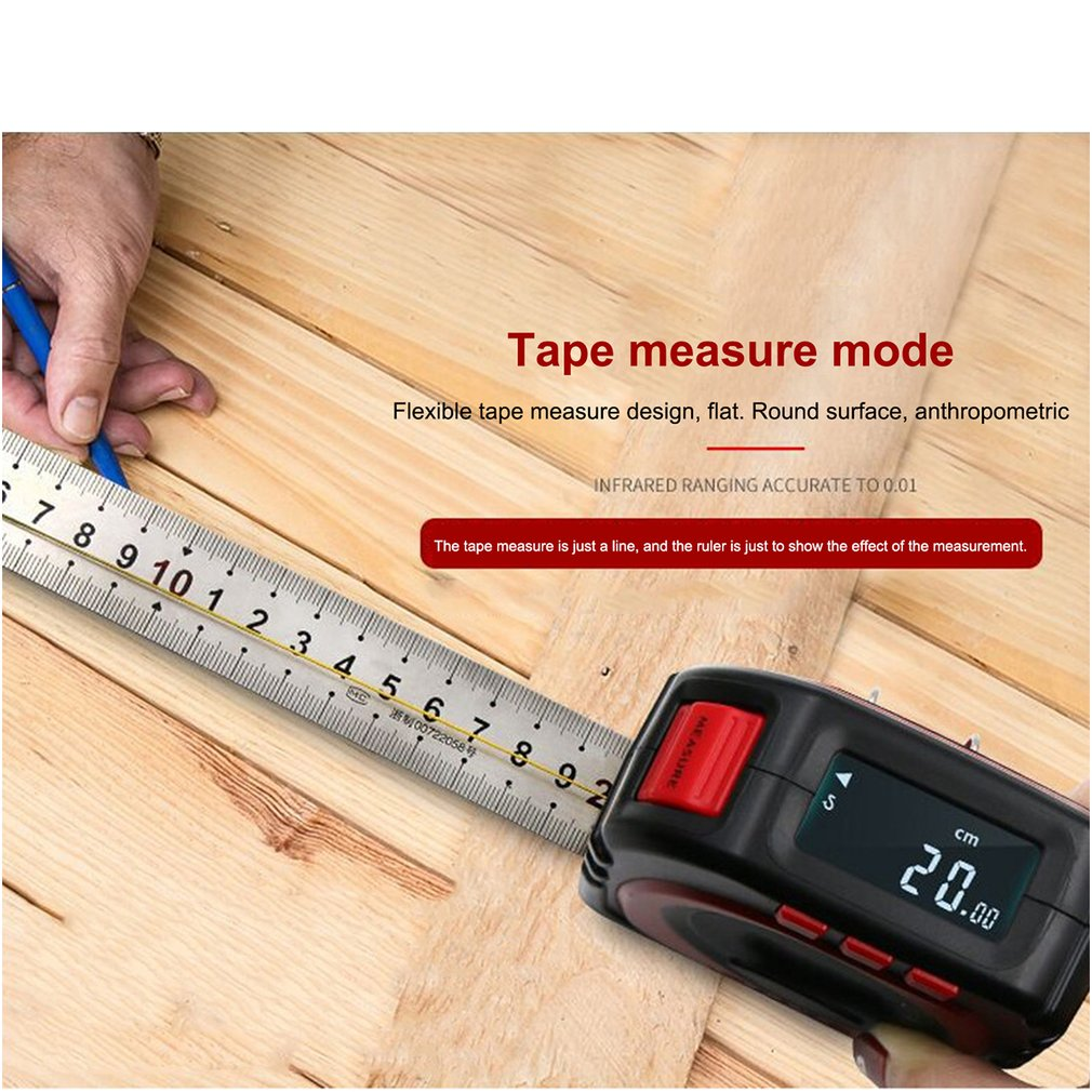 3in1 Digital Multi-function Measure Tape Infrared Laser Distance Meter Measuring Tool Range Finder Roll Cord Mode Gauge Tool Hot