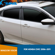 Side Window Deflectors For Honda CIVIC 2006 2007 2008 2009 2010 2011 Window Visor Vent Shades Sun Rain Deflector Guard SUNZ