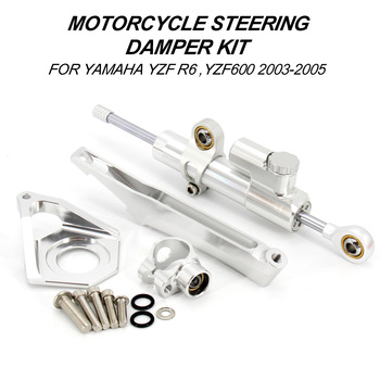 цена на Motorcycles Steering Stabilize Damper Bracket Mount Kit For YAMAHA YZF600 YZF R6 2003 2004 2005
