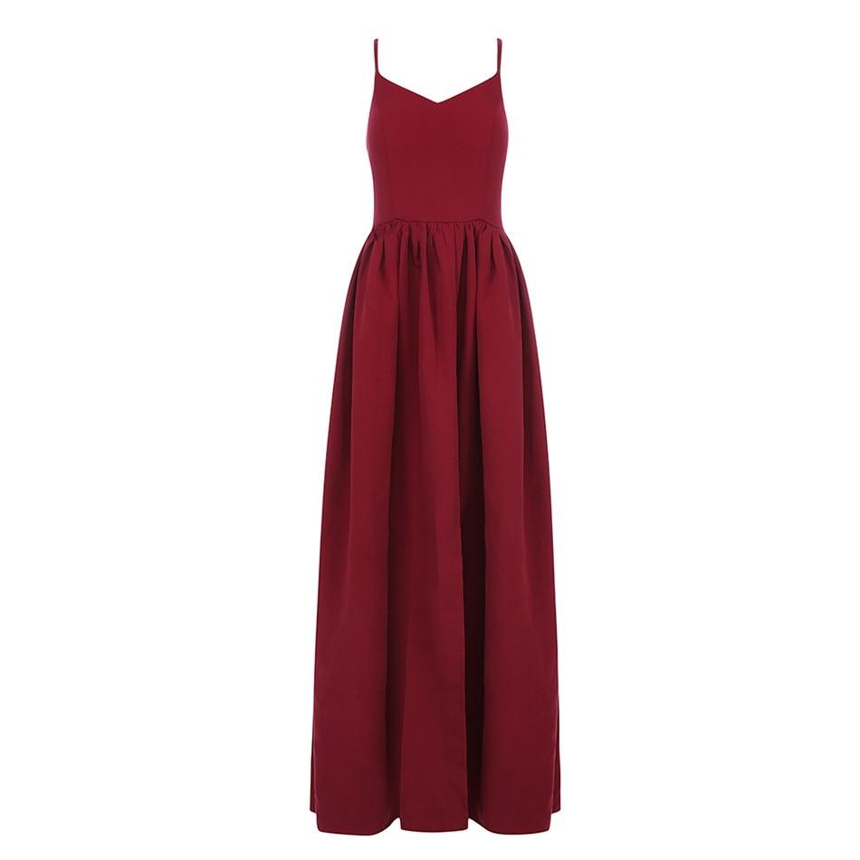 Couturière 2019 nouvelles femmes été rouge dos nu élégant fente longue robe Spaghetti sangle célébrité soirée Club robe Vestidos
