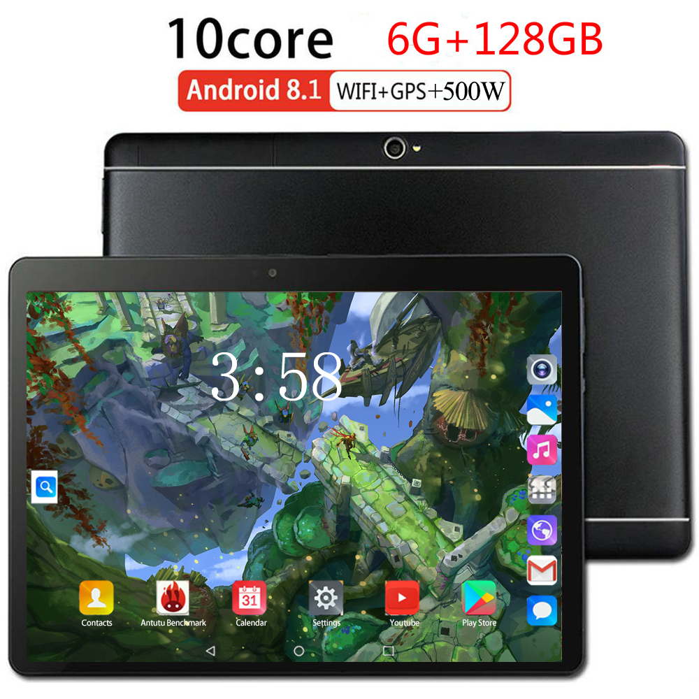 2019 Octa Cores MTK6753 10.1 Inch Tablet PC Android 8.0 6GB RAM 128GB ROM Dual Cameras 5.0MP 1280 800 IPS Phone Tablets Computer