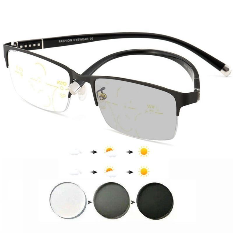 Men Photochromic SunGlasses Tr90 Metal Progressive Reading Glasses Multifocal Customized Prescription Anti Blue Lilght Black 175