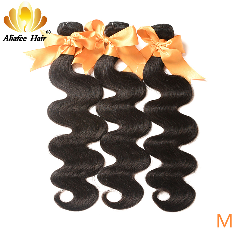 AliAfee Hair Peruvian Hair Bundles Body Wave 1b Color 3 Bundles Deal Hair Weave Bundles 100% Human Hair Extension Non-Remy