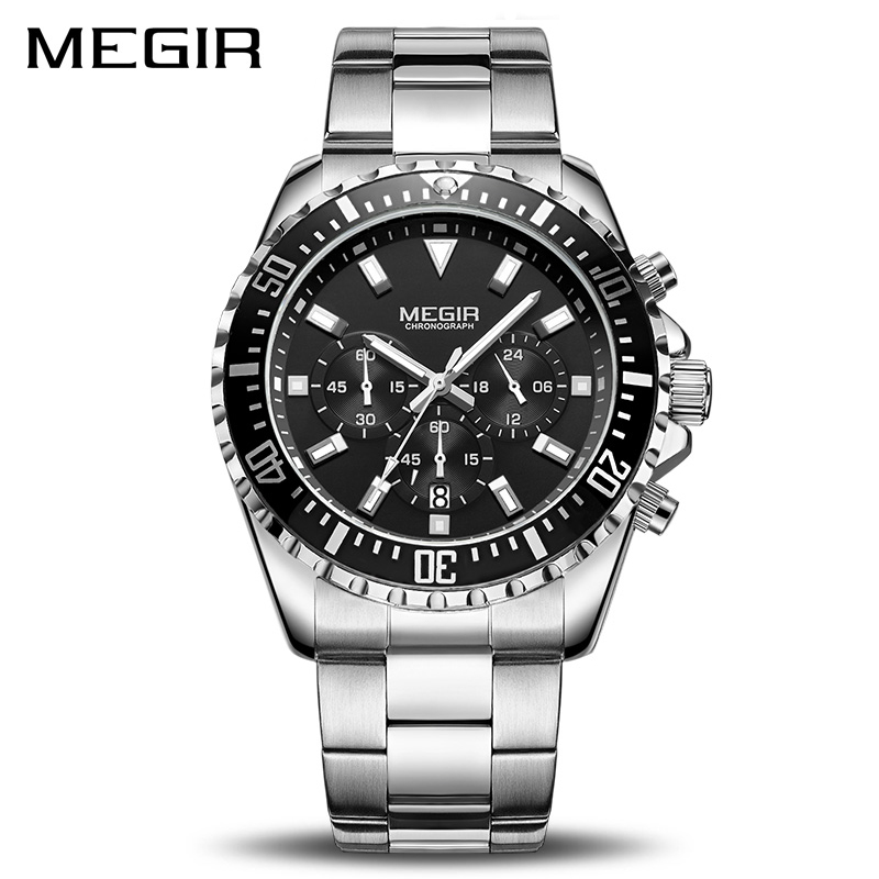 <font><b>MEGIR</b></font> Luxury Business Quartz Watch Men Brand Stainless Steel Chronograph Army Military Wrist Watch Clock Relogio Masculino Male image