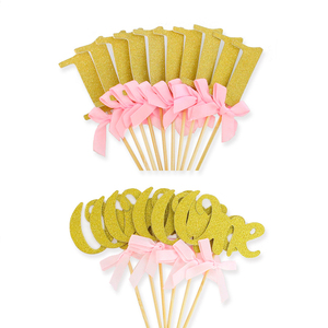 Image 3 - First Birthday Girl Party 10pcs Gold Pink Paper 1 Cupcake Toppers 1st Birthday Decorations Baby Boy Kids Table Supplies