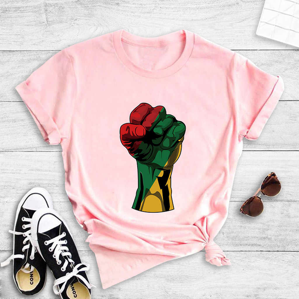 Fist Print Tee Casual Loose Round Neck Short Sleeve Top Blouse T-Shirt for Women