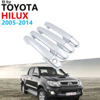 Door Handle Car Accessories for Toyota Hilux AN10 AN20 AN30 SR5 2005~2014 Chrome Handle Cover Trim Set Car Stickers 2013 2012