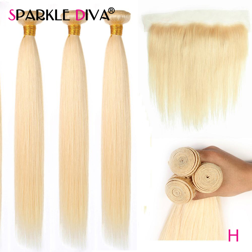613 Bundles With Frontal Closure Brazilian Straight Hair Bundles With Frontal Remy Human Hair Weave Bundles With Frontal Closure