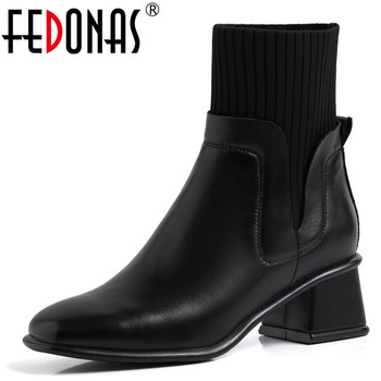 FEDONAS Chelsea Square Toe Boots Elegant Party Prom Shoes Woman High Heels Women Genuine Leather Ankle Boots Female Warm Boots