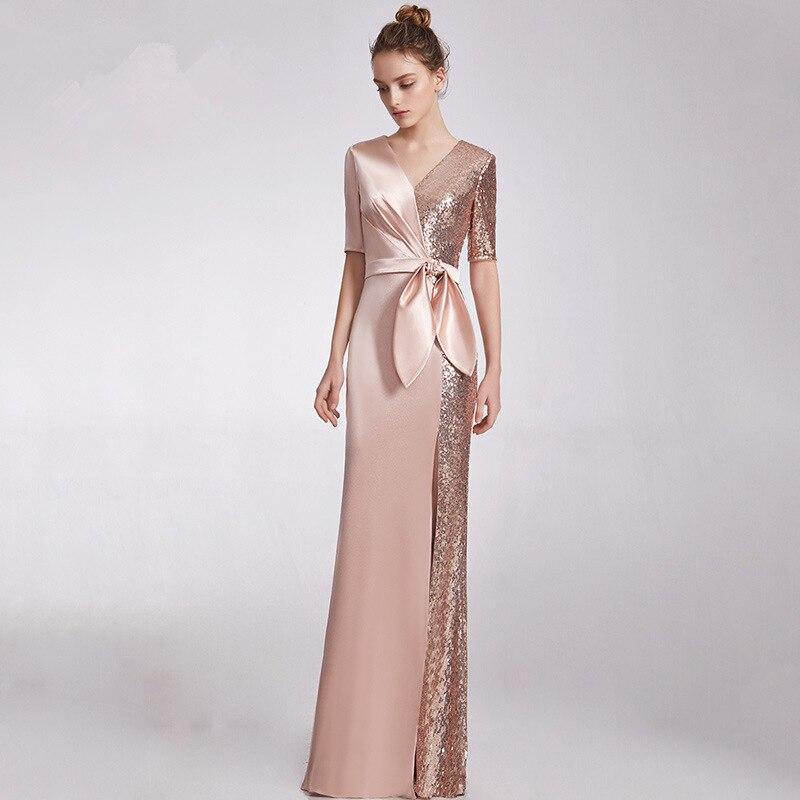 Vestido De Noiva Autumn/winter Dinner Party Dress Temperament Socialite Host Sequins Long Cultivate Morality Show Thin Evening