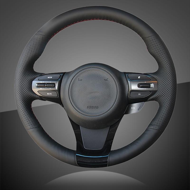 DIY Steering Wheel Cover Red Black Suede Hand Sewing For Kia K5 Optima 2014-2015
