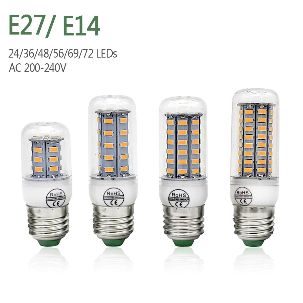 E27 LED Lamp E14 Corn Bulbs SMD5730 220V Bulb 24 36 48 56 69 72LEDs Chandelier Candle LED Light For Home Decoration Ampoule
