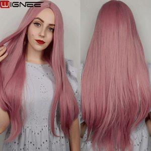 Image 2 - Wignee Pink Long Straight Hair Synthetic Wig For Women Hair Bundle With Closure Daily/Party Heat Resistant Glueless Hair Wigs