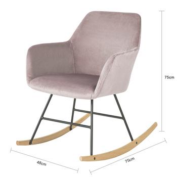 SoBuy®FST68-P fotel bujany fotel fotel wypoczynkowy krzesło relaksacyjne fotel aksamitny tanie i dobre opinie CN (pochodzenie) Nowoczesne meble do salonu W48 x D75 x H75cm Nowoczesna i minimalistyczna Szezlong meble do domu Drewna