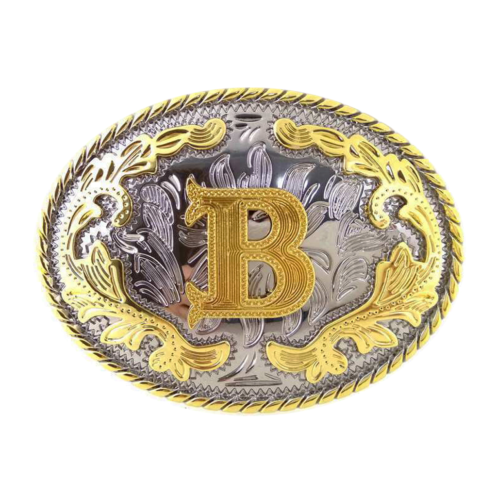 Oval Alloy Initial Letter B Belt Buckle Arabesque Pattern Cowboy Metal Gold