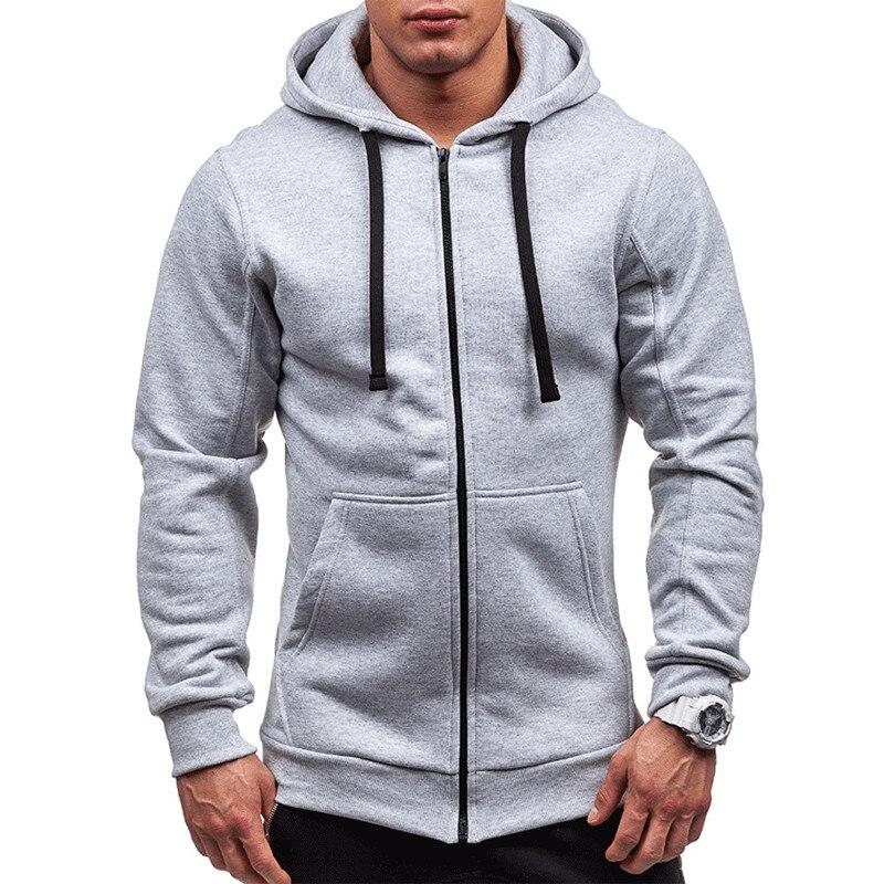 Pocket Solid Hooded Cardigan For Men Zipper Spring Black Hoodies Coat Mens Casual Long Sleeve Sweatshirts Male Jackets 2020