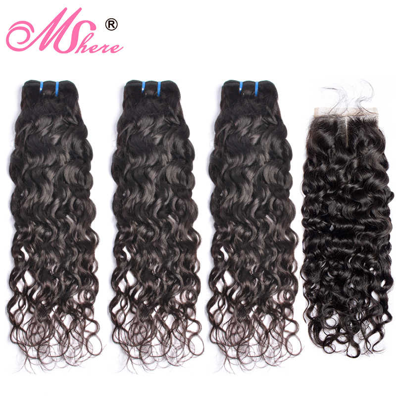 Brazilian Human Hair Weave 3 Bundles With Closure Water Wave Hair Lace Closure With Hair Bundles Extension Mshere Non Remy Hair