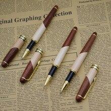 (12 개/몫/많은) 자연 나무 젤 펜 도매 0.5mm 블랙 잉크 리필 서명 펜 도매 사무실 학교 용품