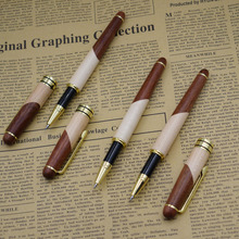 (12 adet/grup) doğa ahşap jel kalemler toptan 0.5mm siyah mürekkep dolum imzalama kalem toptan ofis okul malzemeleri