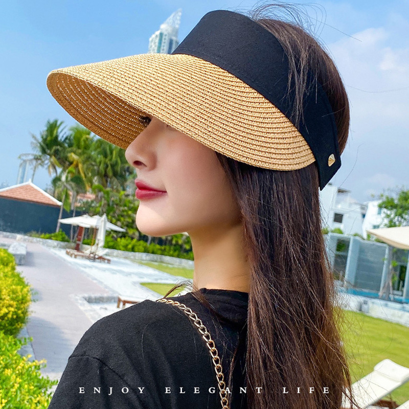 Magic Tape Panama Women Straw Hat Empty Top 2020 Women's Summer Hat Sun Protection Outdoor Sports Fishing Beach Chapeau MZ010