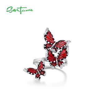 Image 2 - SANTUZZA srebrny pierścień dla kobiet oryginalna 100% 925 Sterling srebrny czerwony motyle Trendy biżuteria Handmade emalia