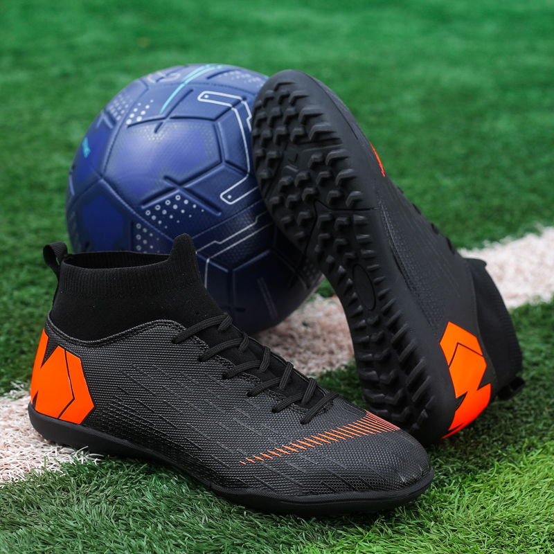 Men Football Boots Soccer Cleats Boots Long Spikes TF Spikes Ankle High Top Sneakers Soft Indoor Turf Futsal Child soccer Shoes Soccer Shoes     - title=
