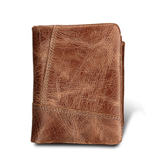 TRASSORY Anti Thief Rfid Trifold Men Zipper Genuine Leather Wallet Money Small Flip Coin Brown Purse Clutch Card