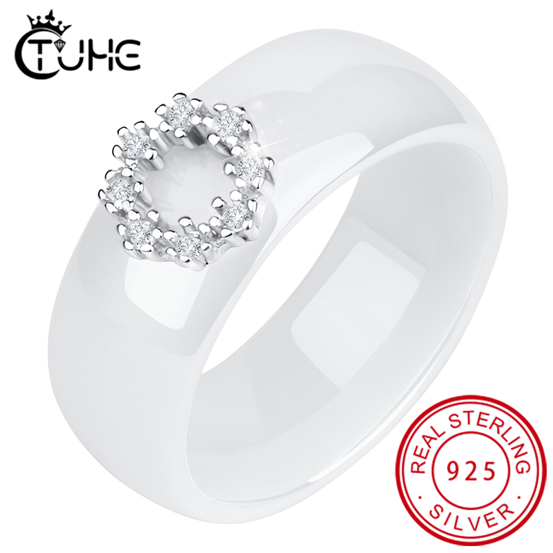 8MM Withd 925 Sterling Silver Circle Crystal Rings Made With Healthy Ceramic Material Wedding Engagement Rings For Women Gift